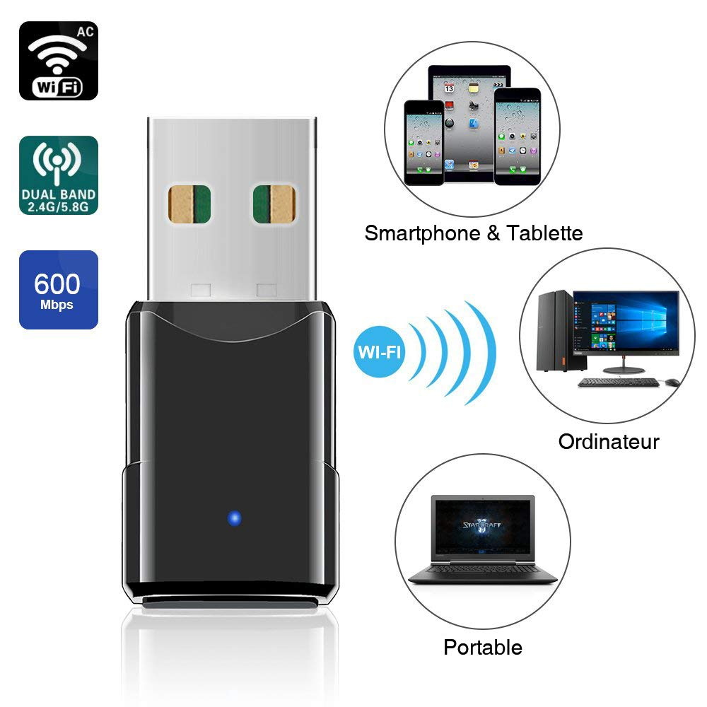 Compatible Windows7//8//10 cl/é WiFi 600 Mbps Double Bande 2.4G//5.8G Mac OS X10.6-10.13 Mini-r/écepteur sans Fil HANPURE Adaptateur USB WiFi