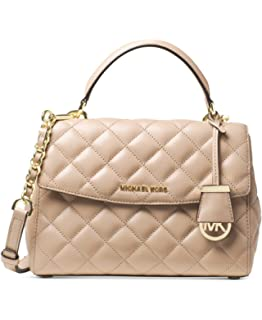 56f41995f5f9 Michael Kors Ava Small Top Handle Quilted Satchel Quilted Leather  Bisque/Gold