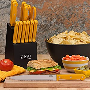 Ginsu Essential Series 14-Piece Stainless Steel Serrated Knife Set – Cutlery Set with Yellow Kitchen Knives in a Black Block, 03886SYDS