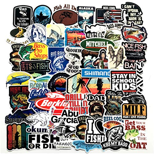 Go Fishing Stickers Pack 50-Pcs Decals of Fishing Bumper Stickers Decals for Cars Motorcycle Portable Luggages Laptops Waterproof Sunlight-Proof (Go Fishing) ()