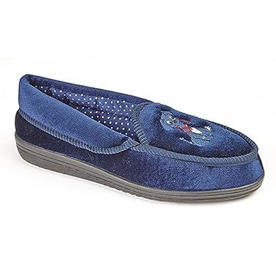 7cdb4cf4af3dc2 Zedzzz Womens Ladies Rebecca Dog Motif Bucket Slippers (3 UK) (Navy Blue