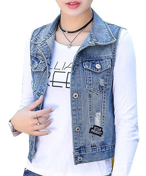 9955e7dfdb518 Arrive guide womens cutoff sleeveless hole distressed jean jacket denim vest  at amazon womens coats shop