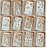 A6 6-Ring Bullet Journal Stencils Plastic Planner Stencils Journal/Notebook/Diary/Scrapbook DIY Drawing Template 6.75x3.75 Inches, 12Pcs, 8-Hole Punched(Set A)