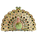Digabi Peacock Women Crystal Evening Clutch Bags (One Size : 6.54.43 IN, style B crystal - gold plated)