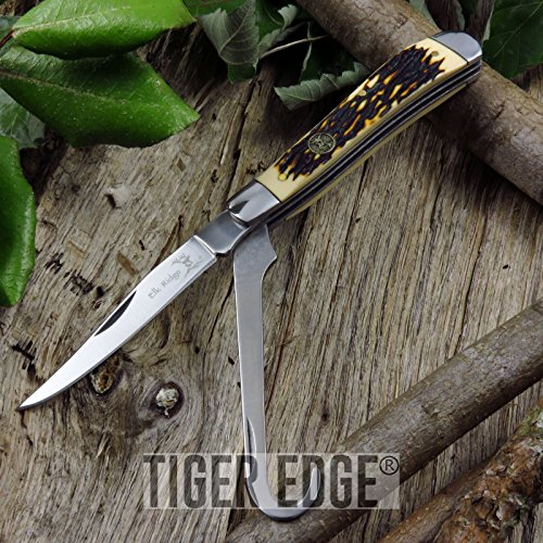NEW! Elk Ridge 2-Blade Stag Bone Handle Equestrian's Folding Pen Pocket Knife