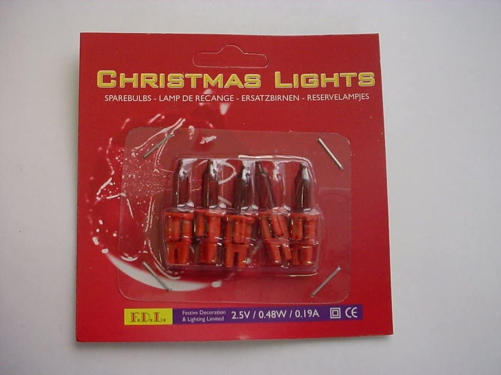 Pack of 5 Push In Spare Fairy Bulbs In Red with Red Base 2.5v 0.48w 0.19a S62