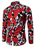 Men's Rose Floral Printed Summer Fashion Slim fit Long Sleeve Button-Down Thin Shirt (Large, Black)