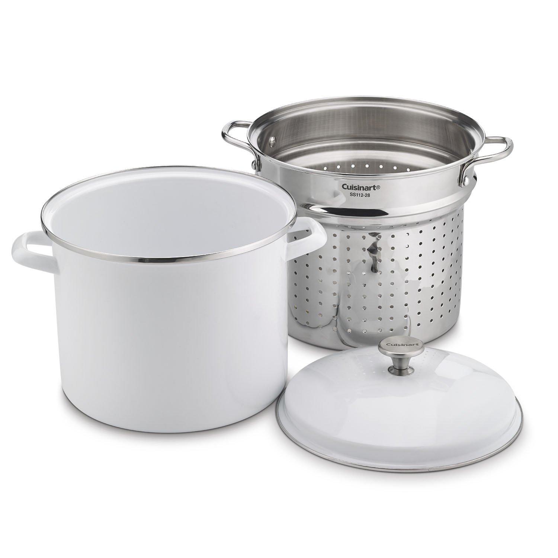 Cuisinart EOS126-28WSCP 3PC 12 Qt. Stockpot/Steaming Set W/Self-Draining Clip - White
