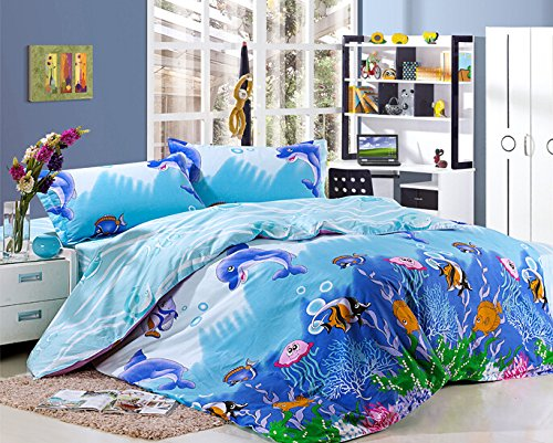 MeMoreCool Home Textile Cute Kids Students Bedding Set Cartoon Underwater World Pattern Duvet Cover Boys and Girls 100% Cotton Bedding Fillet Bed Sheets Full Size 4Pcs