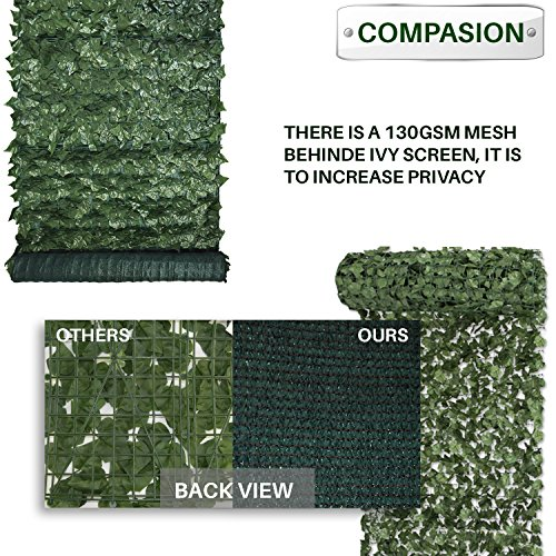 Patio Paradise 4u0027 X 8u0027 Faux Ivy Privacy Fence Screen With Mesh  Back Artificial Leaf Vine Hedge ...