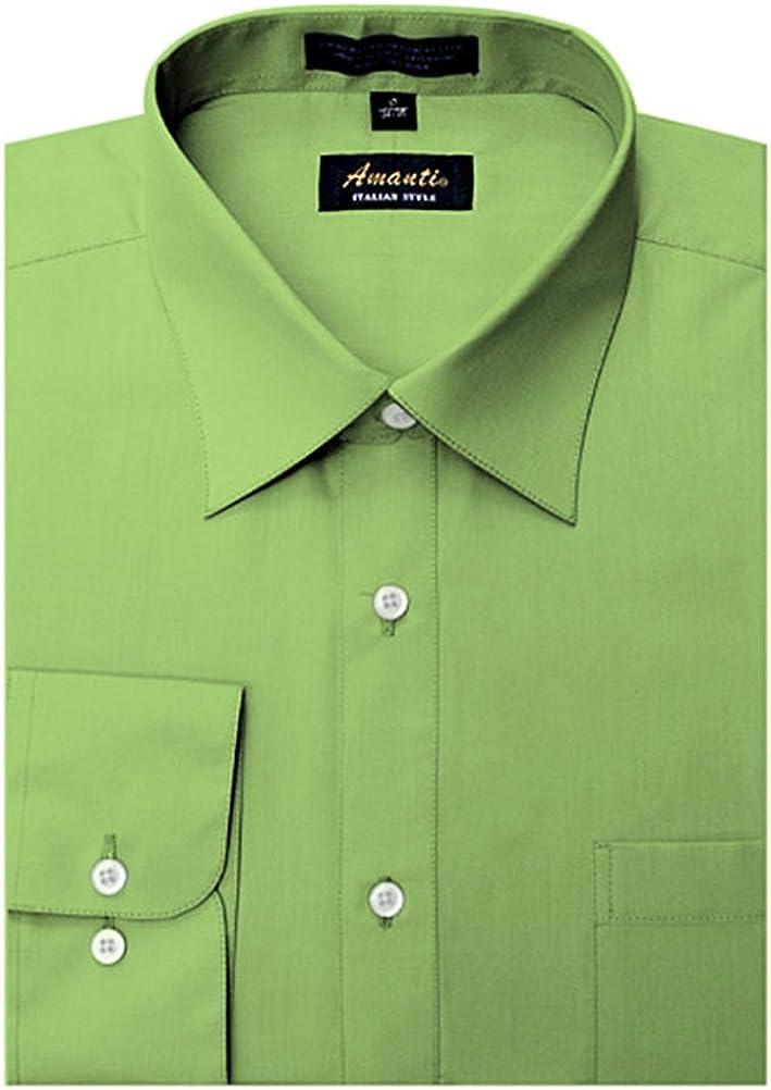 Amanti Apple Green Colored Men's Dress Shirt Long Sleeve Classic 15.5-32/33