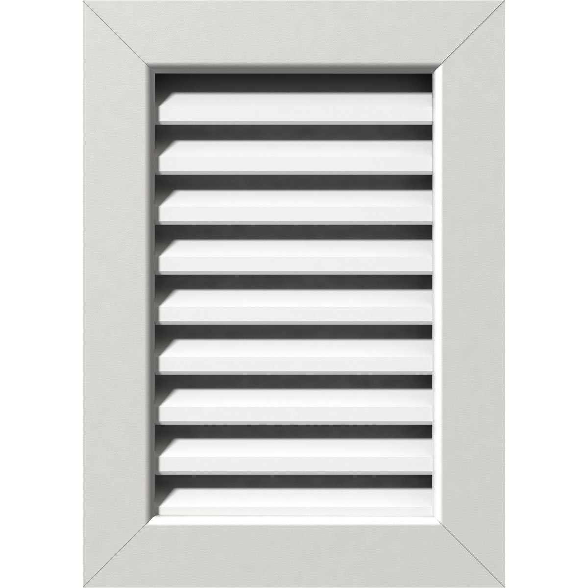 Ekena Millwork GVPVE12X1601FUN 12'' W x 16'' H Rough Opening, Vertical Gable Vent (17'' W x 21'' H Frame Size): Unfinished, Functional, PVC Gable Vent with 1'' x 4'' Flat Trim Frame