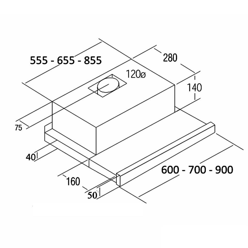 340 m/³//h, Canalizado, E, F, D, 57 dB Campana CATA TF 2003 GBK Encastrada Negro 340m/³//h E