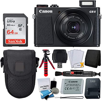 Canon PowerShot G9 X Mark II Digital Camera (Black) + SanDisk 64GB Memory Card + Point & Shoot Case + Flexible Tripod + USB Card Reader + Cleaning Kit ...