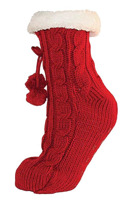 RJM Ladies Cable Knit Slipper Calcetines con interior de forro polar cálido antideslizante en plata Gris gris Talla única: Amazon.es: Ropa y accesorios