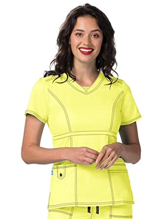 3d9fcb9a0ff Adar Pop-Stretch Junior Fit Womens Princess V-neck Top - 3232 - Citron -  XXS: Amazon.co.uk: Clothing