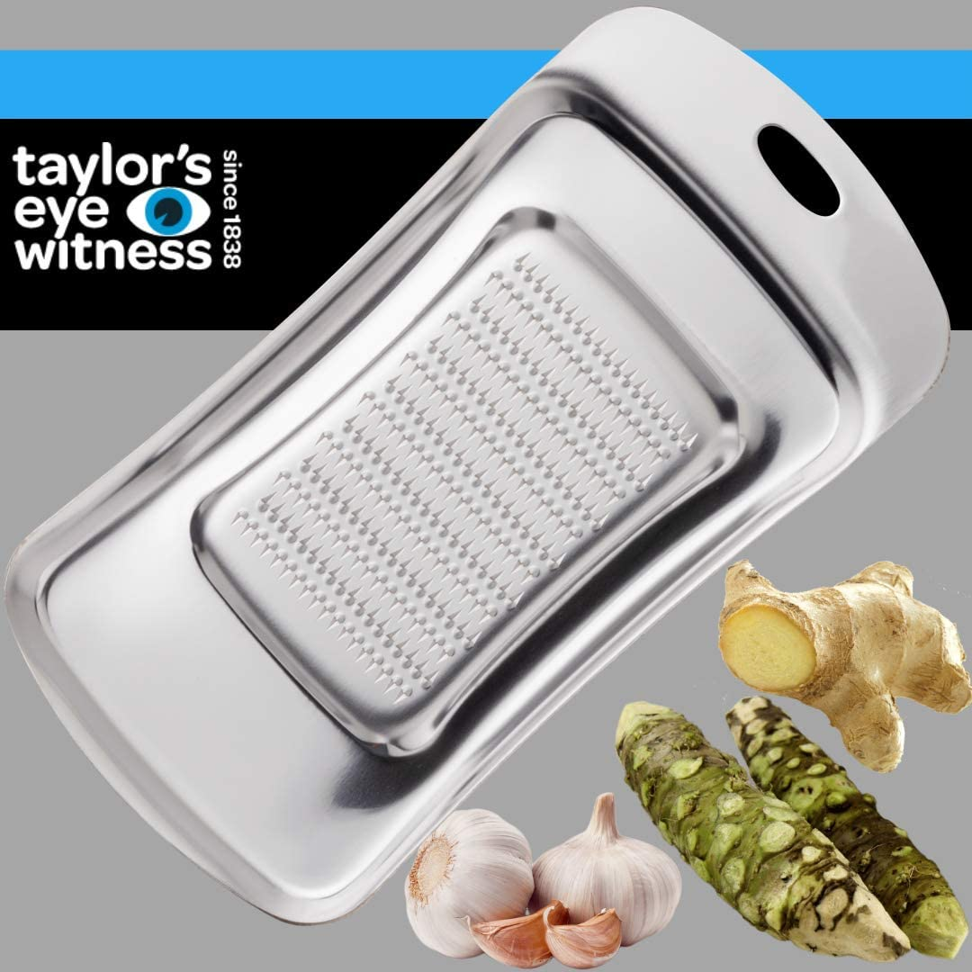 Ginger Garlic and Wasabi Grater Stainless Steel Use Also with Parmesan Creates Fine Pulp for Maximum Extraction of Flavour Dishwasher Safe by Taylors Eye Witness Chocolate and Nutmeg. Lemon