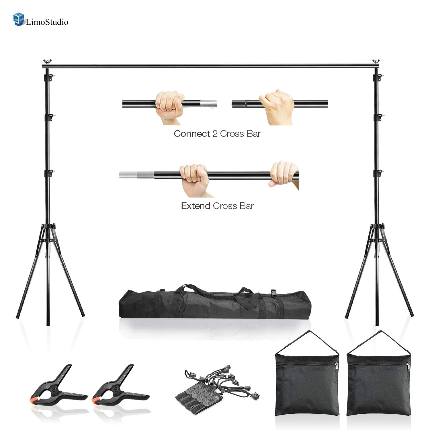 LimoStudio AGG2612 10 x 7.5 ft Adjustable Photo Video Background Muslin Stand, Backdrop Support System Kit with Accessories, Spring Clamp, Sand Bag by LimoStudio