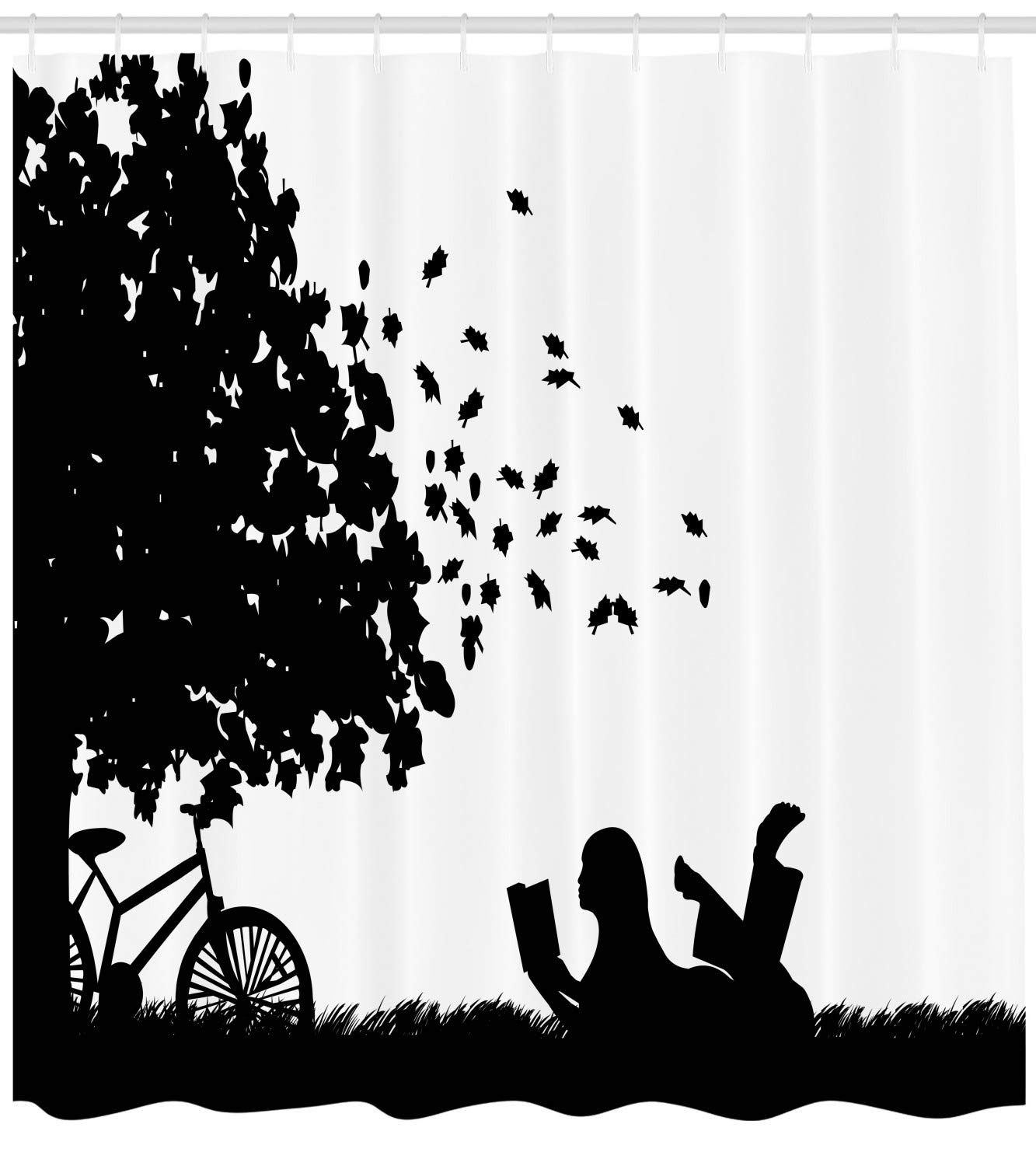 Ambesonne black and white shower curtain silhouette of a girl with bike reading a book under a tree in fall cloth fabric bathroom decor set with hooks