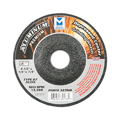 Mercer Industries 627060 Type 27 Grinding Wheel for Aluminum and Other Non-Ferrous Metals, 4-1/2