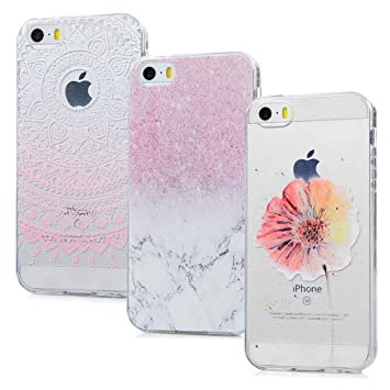 iPhone SE Handyhülle iPhone 5S 5 Hülle Case Cover Transparent Silikon Weich Tasche Durchsichtige Schutzhülle Handytasche Skin