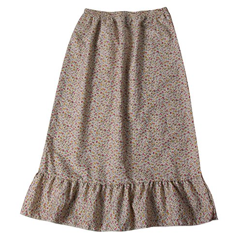 Making Believe Girls Calico Pioneer Peasant Costume Skirt (Girls Medium 6/8, Cream ()