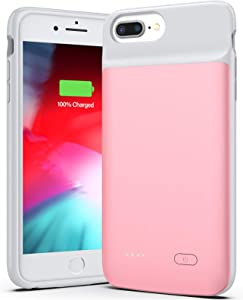 Swaller Battery Case for iPhone 8 Plus 7 Plus 6/6s Plus, 5000mAh Slim Charger Case Full Body Protection, Add 120% Battery Life, Portable Charging Case Compatible with iPhone 8P/7P/6(s) P(Rose Gold)