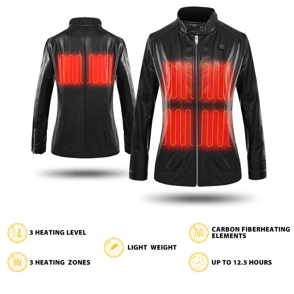 CLIMIX Slim Fit Women Heated Jacket PU Leather Jacket Kits with Battery (S) by CLIMIX (Image #5)
