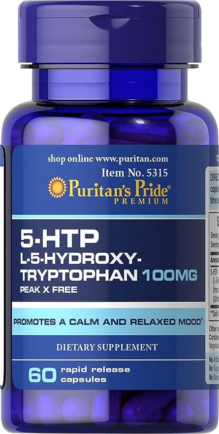 Triptofano 5-HTP, 100 mg 60 Cápsulas / Ansiedad / Nerviosismo / Serotonina