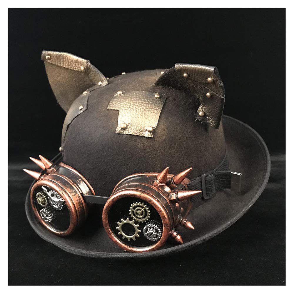 LL Retro Women Men Unisex Steampunk Bowler Hat with Steam Punk Glasses Topper Top Hats Dome Billycock Groom Hat (Color : Black JD, Size : 57-58CM)
