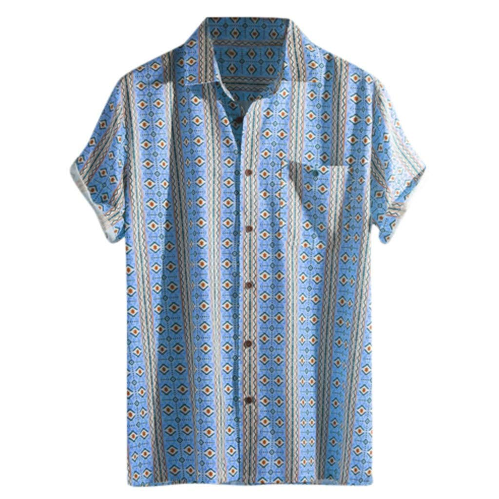 RoDeke Men's Short Sleeve Oxford Button Down Casual Shirt Loose Casual Stripe T Shirt Blouse with Pocket Blue