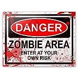 Placa Danger Zombie Area - 20 x 15 cm