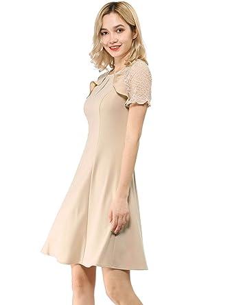 57f5566f9 Allegra K Women's Ruffle Keyhole Lace Sleeve Fit and Flare Dress XS Beige