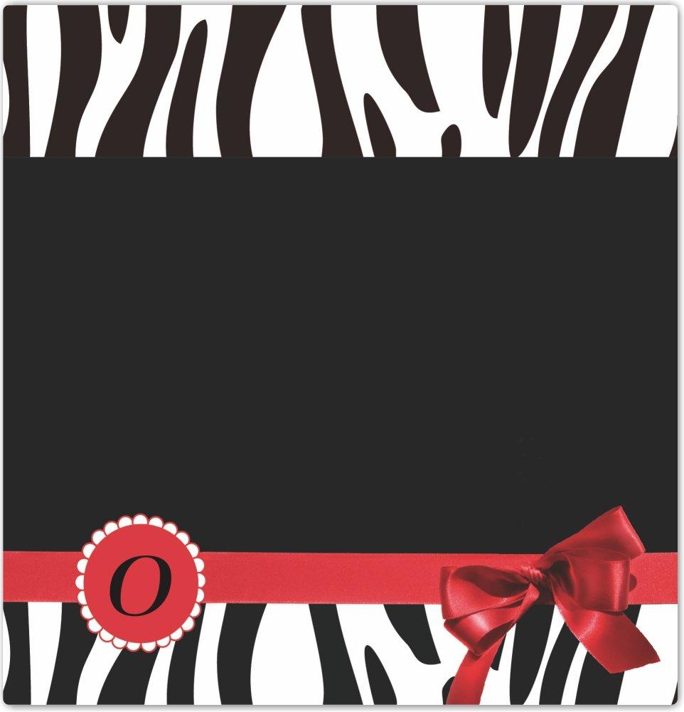 Rikki Knight Letter O Red Zebra Bow Monogram Design Ceramic Art Tile 4 by 4