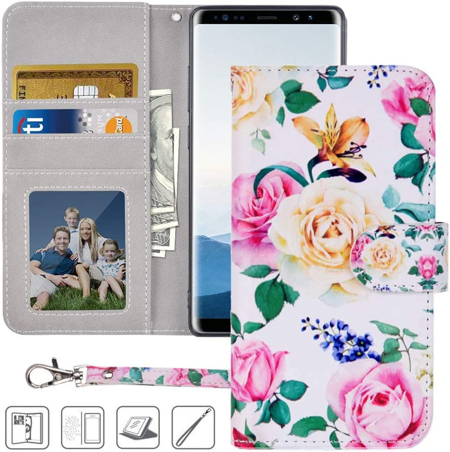 Galaxy Note 8 Wallet Case,Note 8 Case,MagicSky Premium PU Leather Flip Folio Case Cover with Wrist Strap,Card Slots,Cash Pocket,Kickstand for Samsung Galaxy Note 8 (Flower)