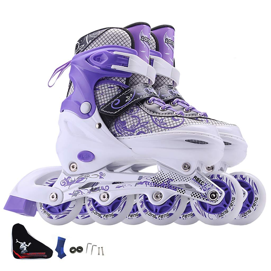 Inline skates Children's Student Roller Skates Adjustable Single Flash Single Row Skates White Adult Beginner Outdoor Sport Men Women Boy Girl (Color : White/Purple, Size : M(35-38))