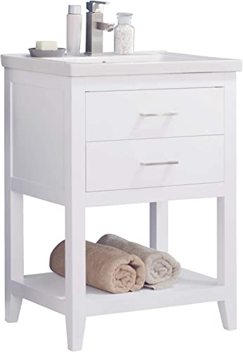 Luca Kitchen Bath LC24FWP Dublin 24 Bathroom Vanity Set in White Made with Hardwood and Integrated Porcelain Top