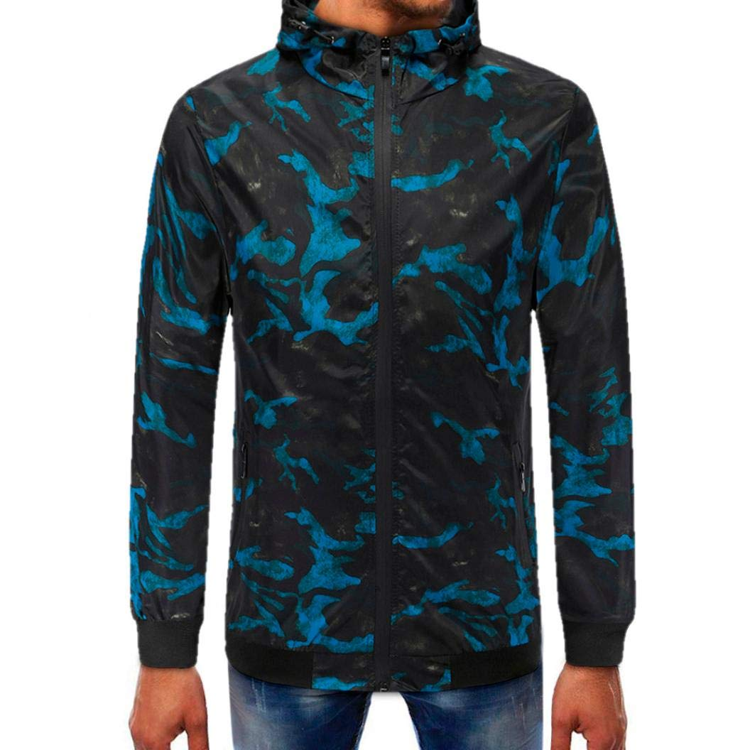 Danhjin Men's Plus Size Retro Jacket Camouflage Zipper Pullover Long Sleeve Hooded Mens Sweatshirt Tops Softshell (Blue, XXL)