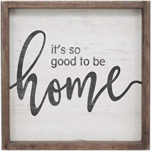 "It's So Good to Be Home Vintage Wood Framed Wall Plaque, Decorative Wood Wall Hanging Sign for Home, Kitchen, Living Room, Rustic Farmhouse Decor, 11.8"" W x 11.8"" H"