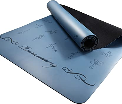 RaoRanDang Non Slip Yoga mat with Instructions Poses Eco Friendly Rubber for Hot Yoga and Bikram, Free Carry Bag 72