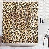 Ambesonne Bathroom Accessories Leopard Print Sexy Shower Curtain, Nearly Natural Wildlife Safari Decorations Fur Skin Animal Print Black Brown Beige Pattern Home Fabric Bath Decor Art, Brown Beige