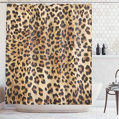 Ambesonne Bathroom Accessories Leopard Print Sexy Shower Curtain, Nearly Natural Wildlife Safari Decorations Fur Skin Animal Print Black Brown Beige Pattern Home Fabric Bath Decor Art, Brown Beige ()