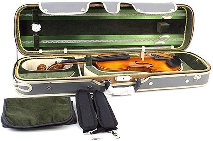 Estuche de violín, Estuche rígido profesional para violín liviano con higrómetro Manija Bloqueo Cremallera Mochila Correas Estuche rígido oblongo violín Estuche rígido gris Tamaño completo 4 / 4,3 / 4: Amazon.es: Hogar