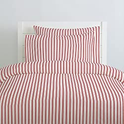 Carousel Designs Red Ticking Stripe Duvet Cover Queen/Full Size - Organic 100% Cotton Duvet Cover - Made in the USA