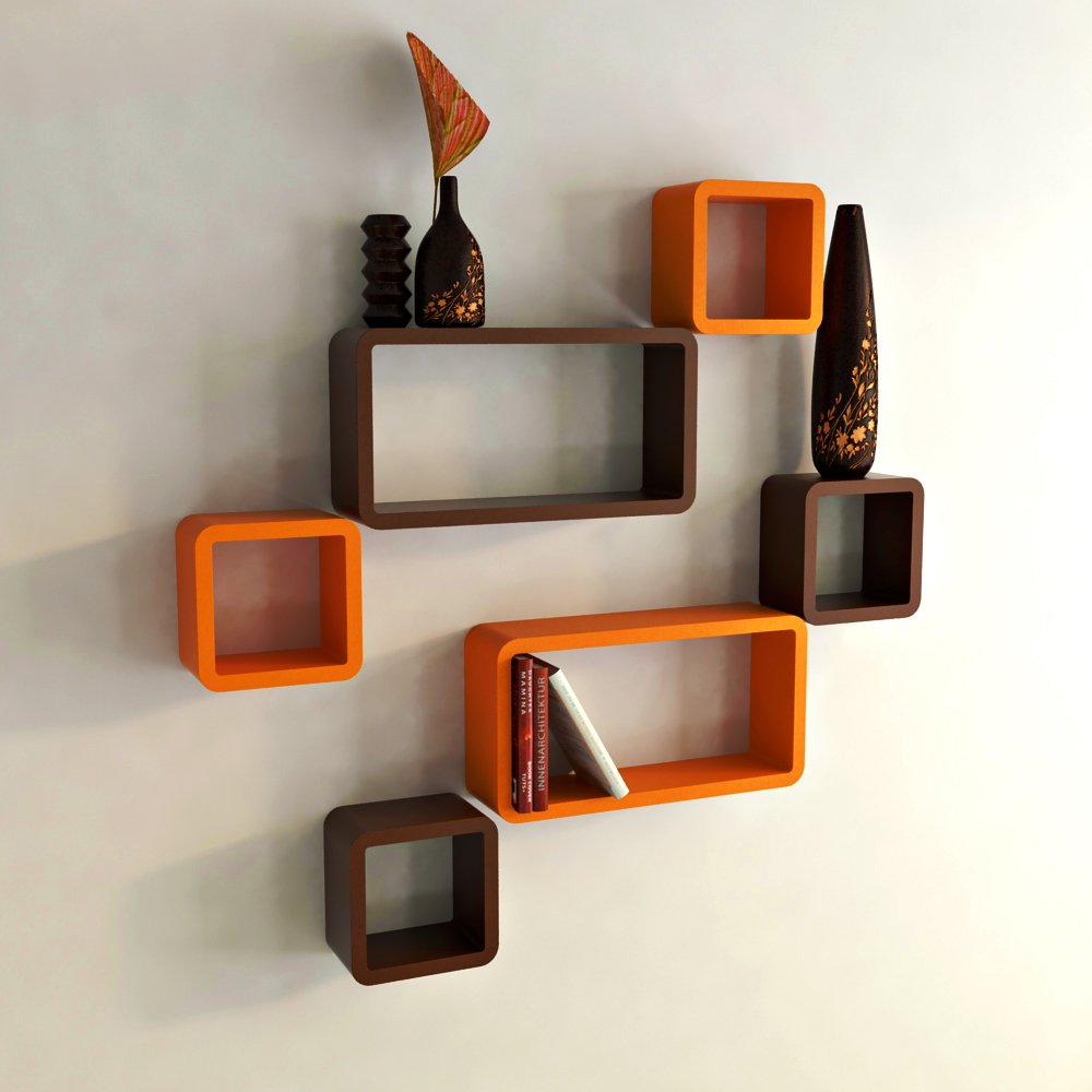Awesome DecorNation Wall Shelf Set Of Six Cube Rectangle Designer Wall Rack Shelves    Orange And Brown: Amazon.in: Home U0026 Kitchen