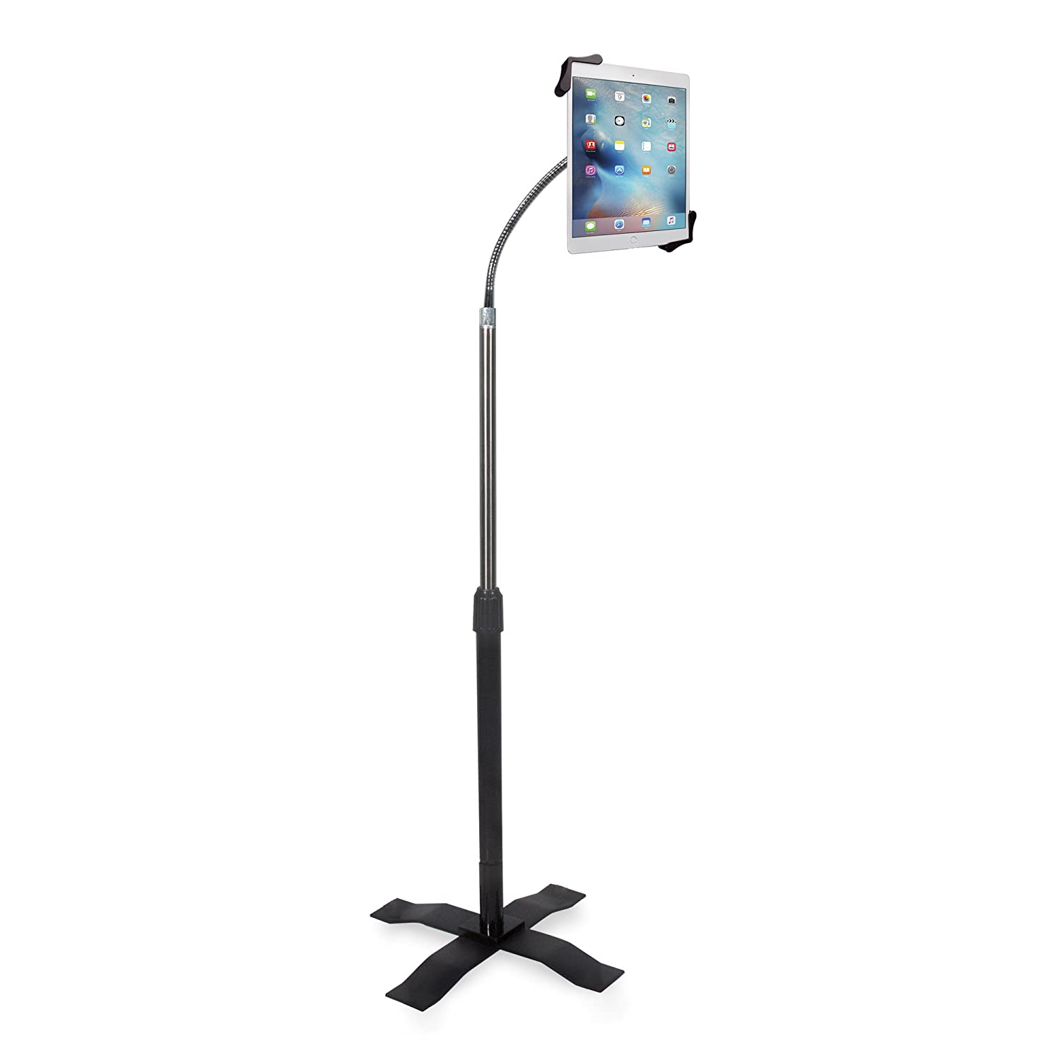 Compact, Height-Adjustable Tablet Floor Stand with Lock and Key Security, Flexible Gooseneck, Telescoping Pole and Optional Wheels, Compatible with iPad (Gen. 5-6), iPad Pro 9.7, and iPad Air CTA Digital PAD-SCGS9