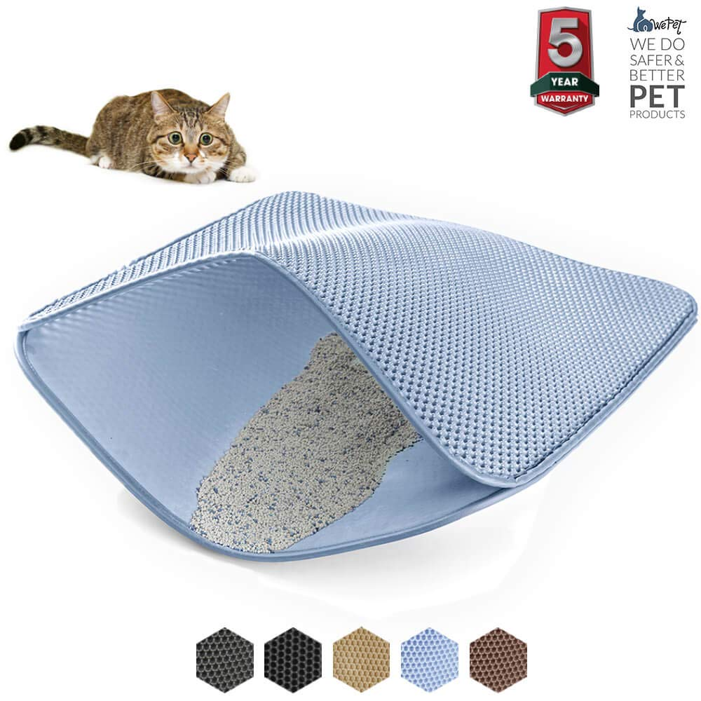 Light bluee X-Large 35 x 23\ Light bluee X-Large 35 x 23\ WePet Original Cat Litter mat Large Kitty Litter Box Trapping Sifting Mats Waterproof Urine Repellent for Keep Floor Carpet Clean Best for Grumpy Cat Large