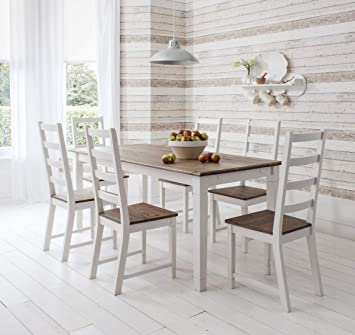 Groovy Noa And Nani Canterbury Contemporary Dining Table And 6 Chairs Dark Pine And White Onthecornerstone Fun Painted Chair Ideas Images Onthecornerstoneorg