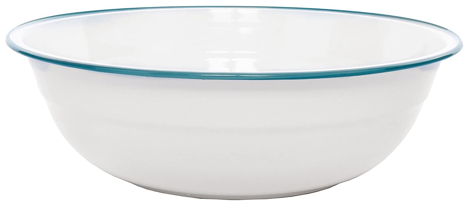 (Red Marble) - Enamelware Timpano Basin - Red Marble B07B2HYXVX Solid White with Turquoise Trim