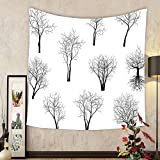 Gzhihine Custom tapestry Apartment Decor Tapestry Spooky Horror Movie Themed Branches Forest Trees Nature Art Print for Bedroom Living Room Dorm Black and White
